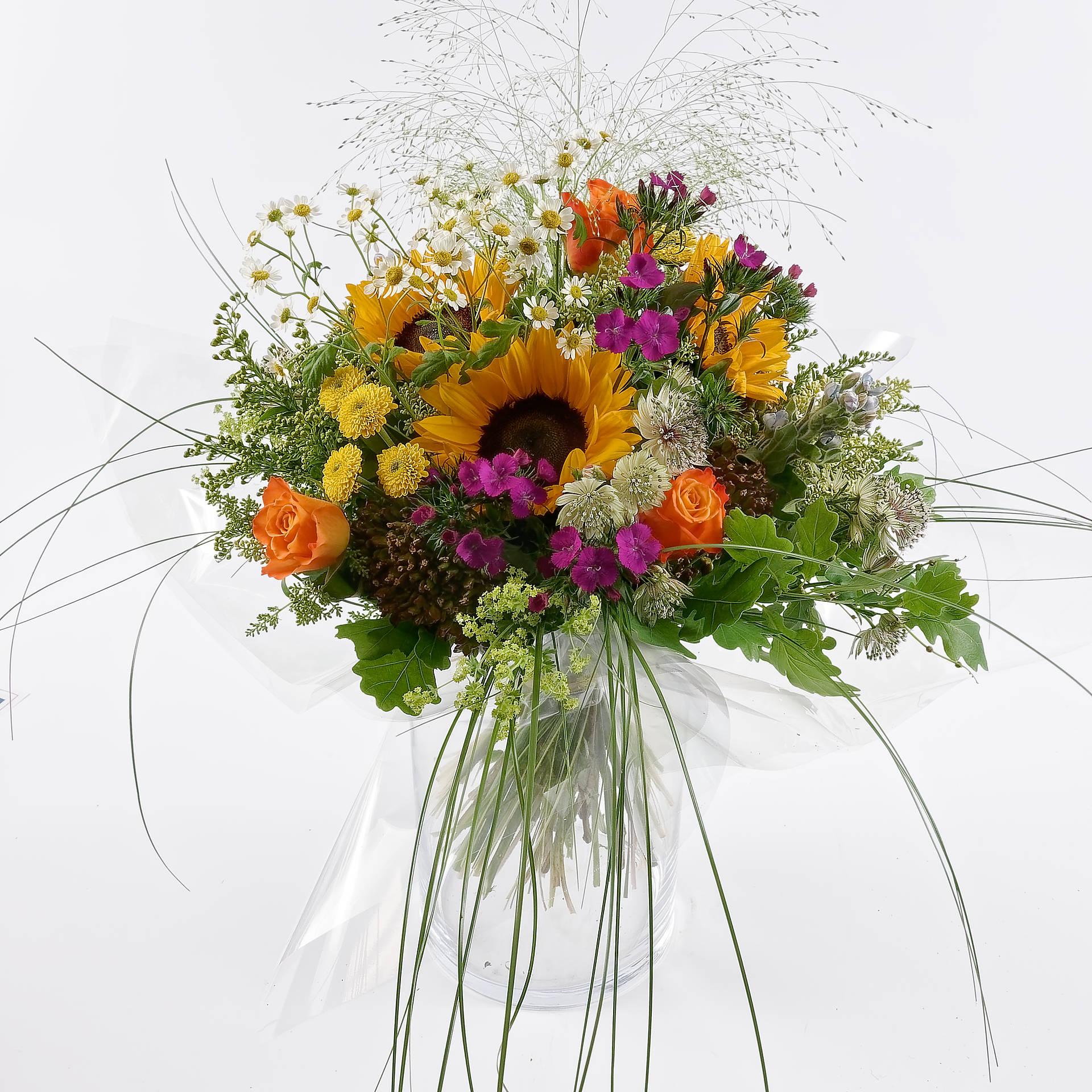 Bouquet champêtre opulent avec tournesol - Fleurs Duchmann